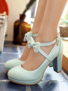 Pale Blue Round Toe Chunky Platform Pumps Bow Cross Strap Sweet Wedding Prom High-Heeled Shoes