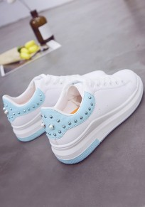 Blue Round Toe Flat Rivet Casual Ankle Shoes