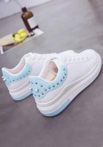 Blaue runde Zehe flache Niet Beiläufig Knöchel Schuhe