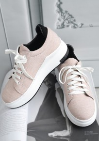 Pink Round Toe Flat Lace-up Casual Ankle Shoes
