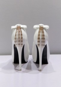 Chaussures bout rond coiffert noeud papillon chaîne mode à talons hauts blanc