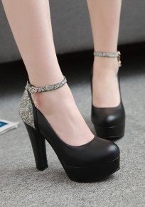 Black Round Toe Chunky Sequin Fashion High-Heeled Shoes