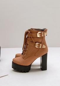 Botines punta redonda con cordones de moda gruesa marrón