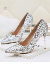 Silber Punkt Zehe Stilett Pailletten Mode Schuhe mit hohen Absätzen