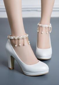 Scarpe con tacco grosso A catena grossa moda con tacco alto bianco