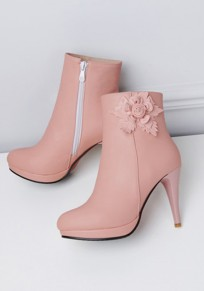Pink Round Toe Stiletto Flower Sweet Ankle Boots
