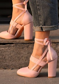 Pink Round Toe Chunky Strap Fashion High-Heeled Shoes