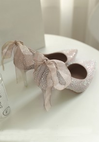 Pink Point Toe Sequin Rhinestone Fashion High-Heeled Shoes