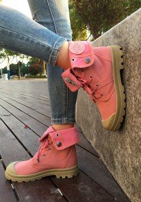 Red Round Toe Lace-up Casual Ankle Shoes