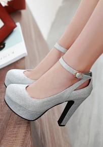 Silver Round Toe Chunky Buckle Fashion High-Heeled Shoes