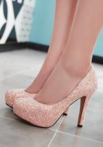 Zapatos punta redonda aguja tacón de aguja rosa