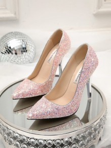 70e90cc34eed2 Pink Point Toe Stiletto Sequin Fashion High-Heeled Shoes