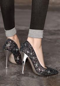 Zapatos punta de punta lentejuelas lentejuelas moda tacón alto negro