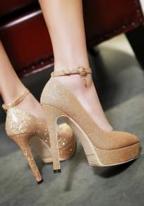 Scarpe con punta tacco A spillo stile moda con tacco alto oro