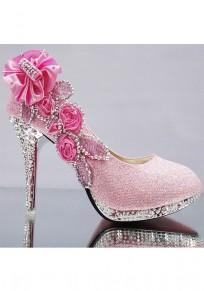 Zapatos punta redonda puntada de diamantes de imitación de tacón alto rosa