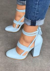 Chaussures à lacets cheville croix sangle épais talons hautes élégant femme bleu