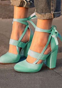 Blaue Runde Zehe Klobig Mode Spitze Up High Heels Sandaletten Pumps Hoher Absatz Schuhe Damen