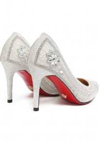 Chaussures bout pointu strass coiffert mode à talons hauts argent