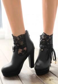 Bottes bout rond trapu couture à mode cheville noir