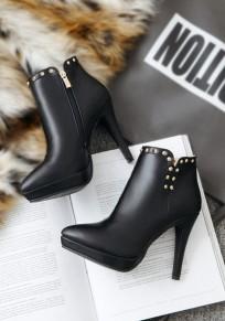 Schwarz Punkt Zehe Stilett Niet Mode Stiefeletten