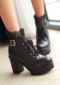 Black Round Toe Chunky Lace Stitching Fashion Boots