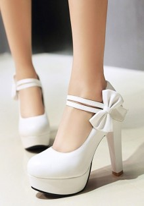 Zapatos puntera redonda fornida corbata de moño moda tacón alto blanco