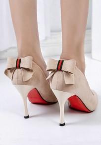 Zapatos punta del dedo del pie estilete pajarita de moda de tacón alto beige