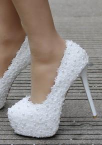 White Round Toe Stiletto Platform Pumps Patchawork Lace Pearl Elegant Wedding Prom High-Heeled Shoes