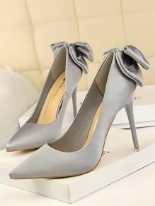 Chaussures bout pointu coiffert noeud papillon mode à talons hauts gris argent