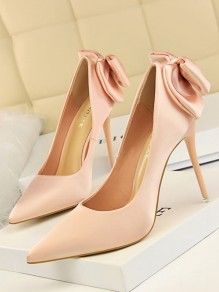 Pink Point Toe Stiletto Bow Fashion High-Heeled Shoes