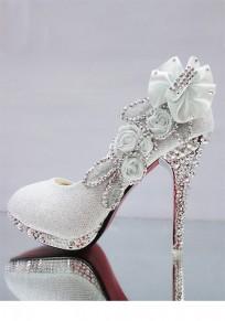 Chaussures bout rond coiffert strass mode à talons hauts argent