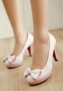 Zapatos punta redonda pajarita dulce de tacón alto blanco