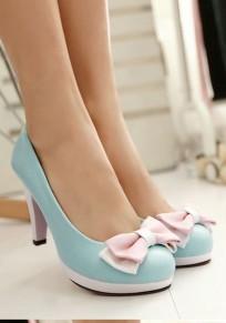 Blue Round Toe Bow Sweet High-Heeled Shoes
