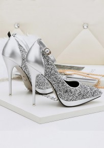 Silver Point Toe Stiletto Sequin Buckle Fashion High-Heeled Shoes