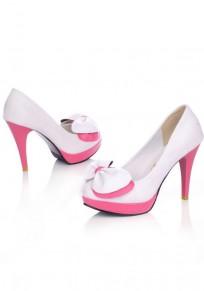 Chaussures bout rond coiffert noeud papillon mode à talons hauts blanc