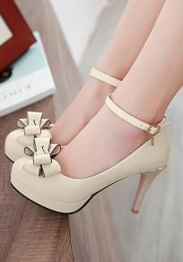 Chaussures bout rond coiffert noeud papillon mode à talons hauts beige