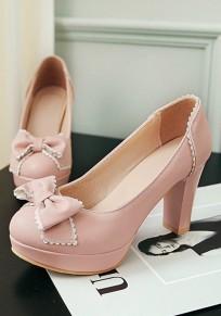 Zapatos punta redonda corbata de moño grueso moda tacón alto rosa