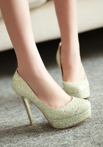 Green Round Toe Stiletto Sequin Fashion High-Heeled Shoes