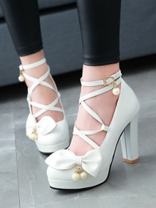 White Round Toe Chunky Cross Strap Bow Pearl Fashion Pumps
