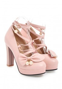 Pink Round Toe Chunky Cross Strap Bow Pearl Fashion Pumps