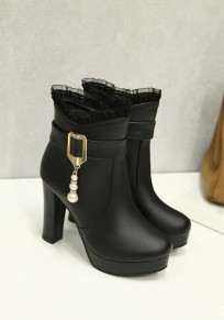 Black Round Toe Chunky Pearl Lace Stitching Fashion Ankle Boots