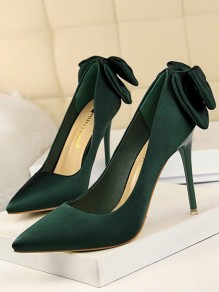 Dark Green Point Toe Stiletto Bow Fashion Party Wedding Satin High Heels Shoes