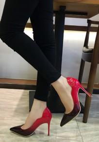 Zapatos punta estrecha moda tacón alto rojo