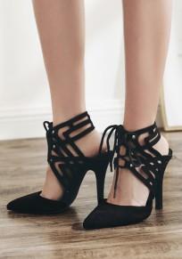 Zapatos punta de tacón de aguja tacón alto negro