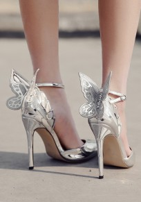 Silver Point Toe Stiletto Bow Buckle Fashion High-Heeled Shoes