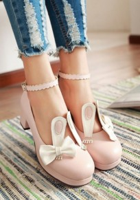Pink Round Toe Bow Rabbit Ears Sweet High-Heeled Shoes