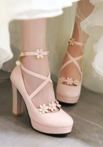 Pink Round Toe Chunky Flowers Fashion High-Heeled Shoes