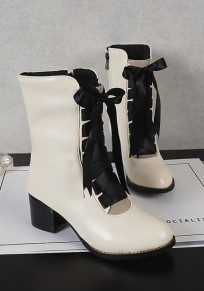 White Round Toe Chunky Cross Strap Casual Ankle Boots