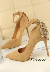 Zapatos punta del dedo del pie aguja de diamantes de imitación de moda de tacón alto de color caqui
