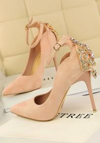 Pink Point Toe Stiletto Rhinestone Fashion High-Heeled Shoes